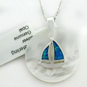 Jewelry - Genuine Opal & MOP Sterling Sailboat Necklace!
